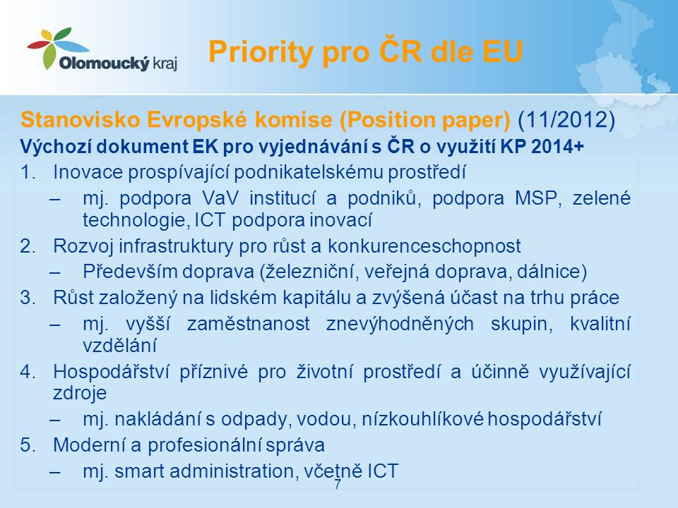 Stanovisko Evropské komise (Position paper) (11/2012) Stanovisko obsahuje i souhrn hlavních předběžných podmínek (ex-ante kondicionalit), které má ČR splnit 1.Vnitrostátní a regionální strategie pro výzkum a inovace pro inteligentní specializaci, včetně ICT 2.Vnitrostátní strategie v dopravě 3.Opatření pro zajištění účinného provedení zákona o malých podnicích 4.Provedení práva a pravidel EU v oblasti životního prostředí 5.Strategie pro posílení účinnosti veřejné správy, včetně služebního zákona 6.Vnitrostátní/regionální strategie pro zlepšení kvality terciárního vzdělávání 7.Víceleté vnitrostátní strategické plány pro akvakulturu a vnitrostátní správní kapacity pro sběr údajů o tomto odvětví Podmínky pro ČR 8