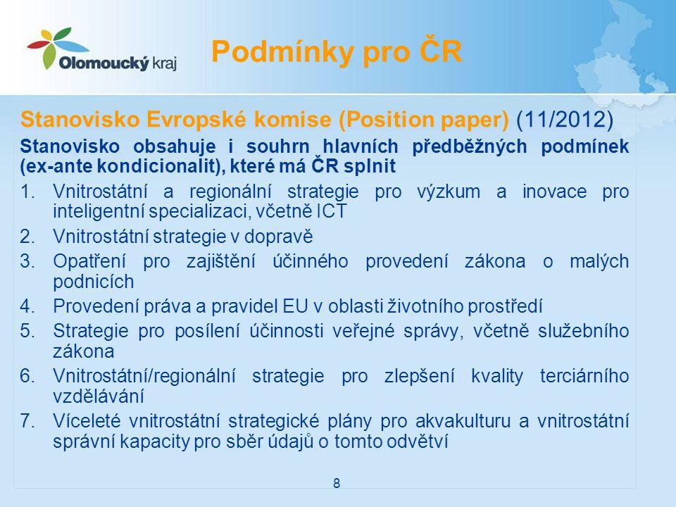 Stanovisko Evropské komise (Position paper) (11/2012) Stanovisko obsahuje i souhrn hlavních předběžných podmínek (ex-ante kondicionalit), které má ČR