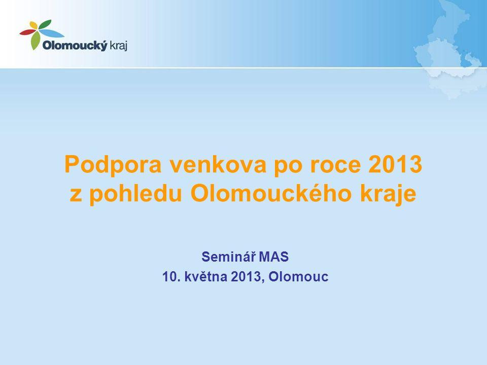 Podpora venkova po roce 2013 z pohledu Olomouckého kraje Seminář MAS 10. května 2013, Olomouc
