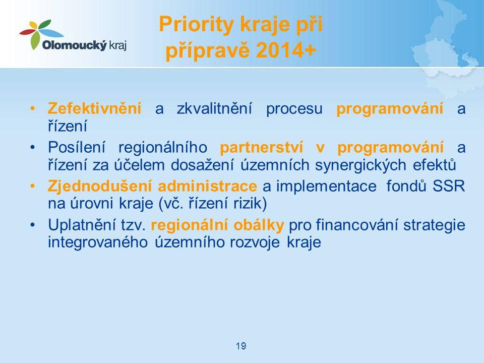 Zefektivnění a zkvalitnění procesu programování a řízení Posílení regionálního partnerství v programování a řízení za účelem dosažení územních synergických efektů Zjednodušení administrace a implementace fondů SSR na úrovni kraje (vč.