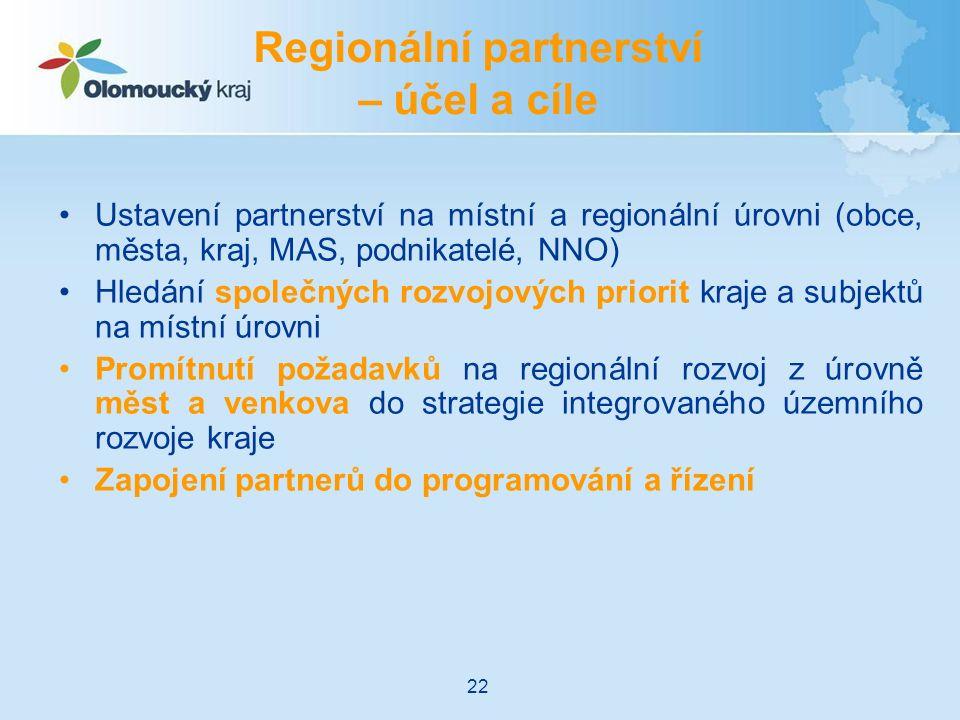 Ustavení partnerství na místní a regionální úrovni (obce, města, kraj, MAS, podnikatelé, NNO) Hledání společných rozvojových priorit kraje a subjektů na místní úrovni Promítnutí požadavků na regionální rozvoj z úrovně měst a venkova do strategie integrovaného územního rozvoje kraje Zapojení partnerů do programování a řízení Regionální partnerství – účel a cíle 22