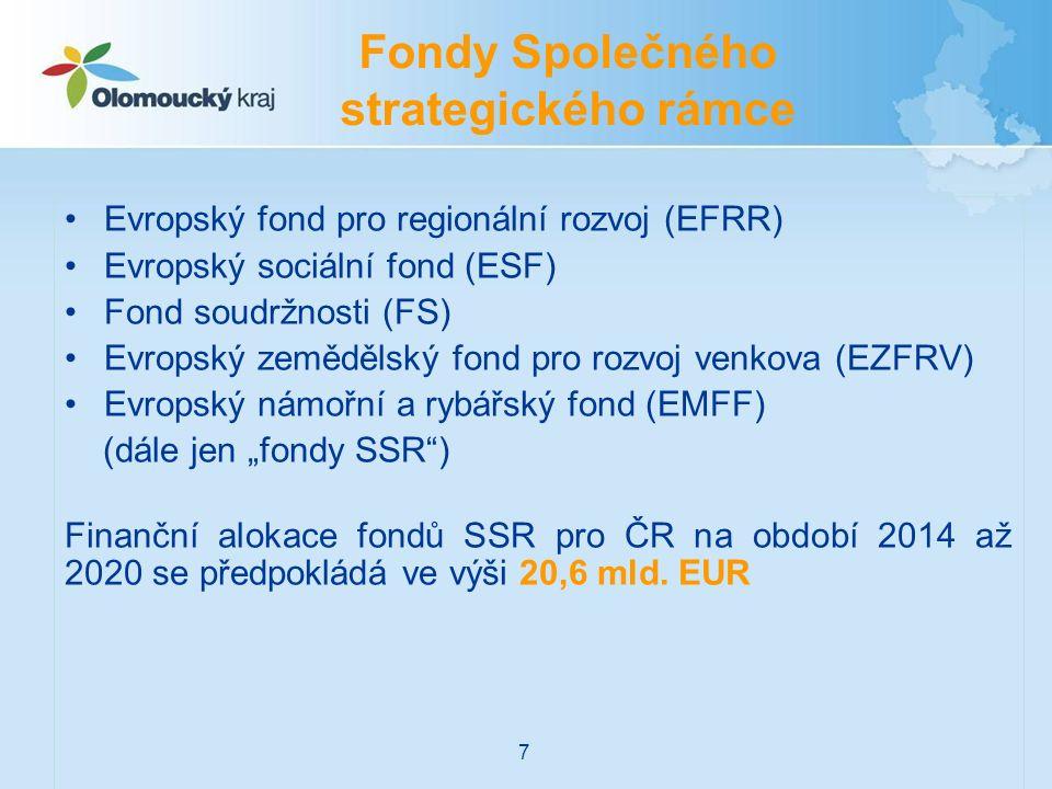 """Evropský fond pro regionální rozvoj (EFRR) Evropský sociální fond (ESF) Fond soudržnosti (FS) Evropský zemědělský fond pro rozvoj venkova (EZFRV) Evropský námořní a rybářský fond (EMFF) (dále jen """"fondy SSR ) Finanční alokace fondů SSR pro ČR na období 2014 až 2020 se předpokládá ve výši 20,6 mld."""