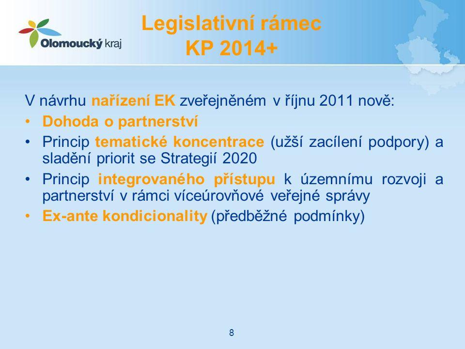 V návrhu nařízení EK zveřejněném v říjnu 2011 nově: Dohoda o partnerství Princip tematické koncentrace (užší zacílení podpory) a sladění priorit se Strategií 2020 Princip integrovaného přístupu k územnímu rozvoji a partnerství v rámci víceúrovňové veřejné správy Ex-ante kondicionality (předběžné podmínky) Legislativní rámec KP 2014+ 8