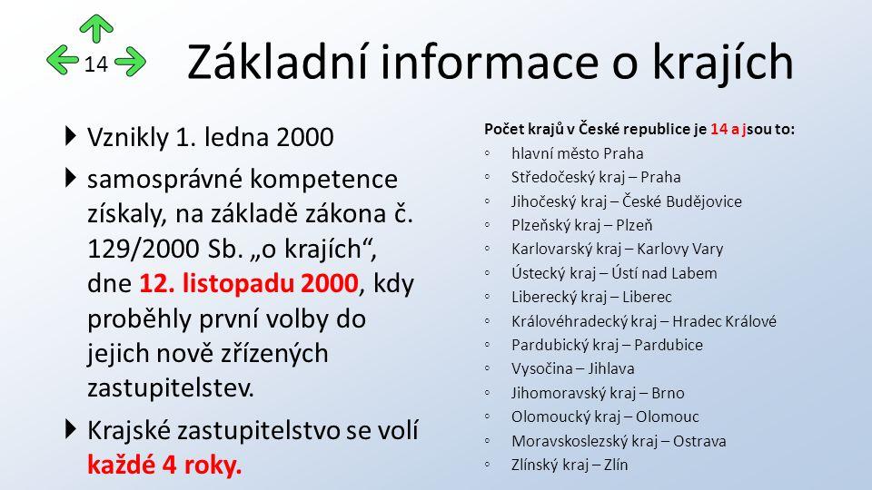 """Základní informace o krajích  Vznikly 1. ledna 2000  samosprávné kompetence získaly, na základě zákona č. 129/2000 Sb. """"o krajích"""", dne 12. listopad"""