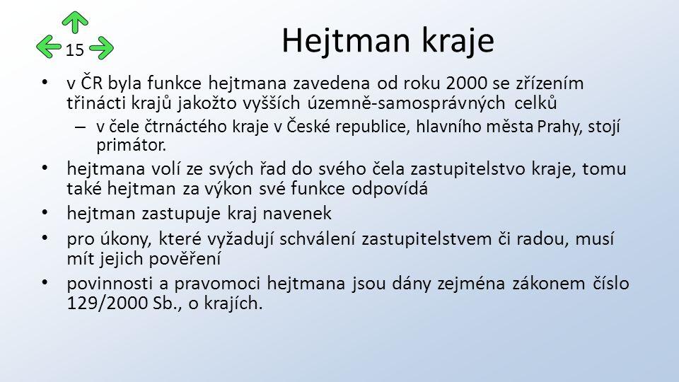 v ČR byla funkce hejtmana zavedena od roku 2000 se zřízením třinácti krajů jakožto vyšších územně-samosprávných celků – v čele čtrnáctého kraje v České republice, hlavního města Prahy, stojí primátor.