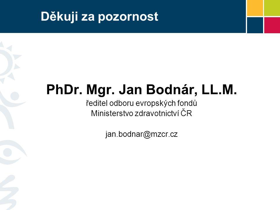 Děkuji za pozornost PhDr. Mgr. Jan Bodnár, LL.M. ředitel odboru evropských fondů Ministerstvo zdravotnictví ČR jan.bodnar@mzcr.cz