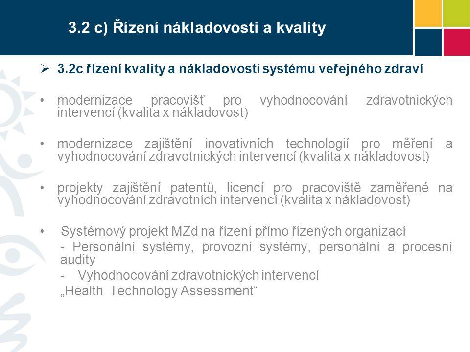 """3.2 c) Řízení nákladovosti a kvality  3.2c řízení kvality a nákladovosti systému veřejného zdraví modernizace pracovišť pro vyhodnocování zdravotnických intervencí (kvalita x nákladovost) modernizace zajištění inovativních technologií pro měření a vyhodnocování zdravotnických intervencí (kvalita x nákladovost) projekty zajištění patentů, licencí pro pracoviště zaměřené na vyhodnocování zdravotních intervencí (kvalita x nákladovost) Systémový projekt MZd na řízení přímo řízených organizací - Personální systémy, provozní systémy, personální a procesní audity -Vyhodnocování zdravotnických intervencí """"Health Technology Assessment"""