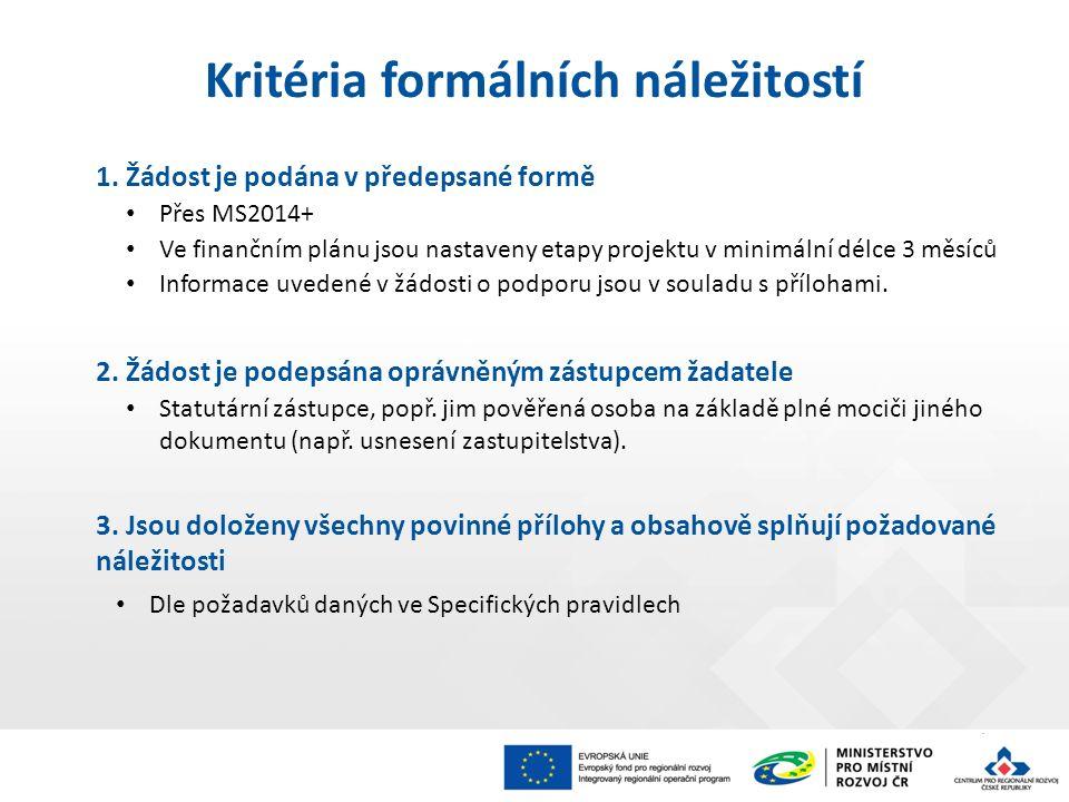 1. Žádost je podána v předepsané formě Přes MS2014+ Ve finančním plánu jsou nastaveny etapy projektu v minimální délce 3 měsíců Informace uvedené v žá