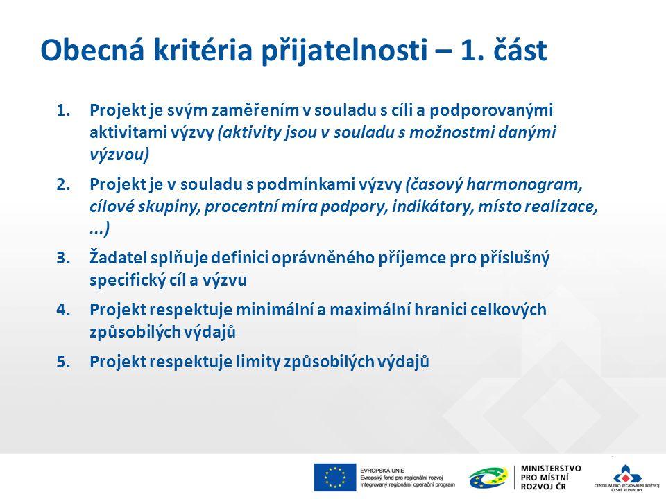 1.Projekt je svým zaměřením v souladu s cíli a podporovanými aktivitami výzvy (aktivity jsou v souladu s možnostmi danými výzvou) 2.Projekt je v soula