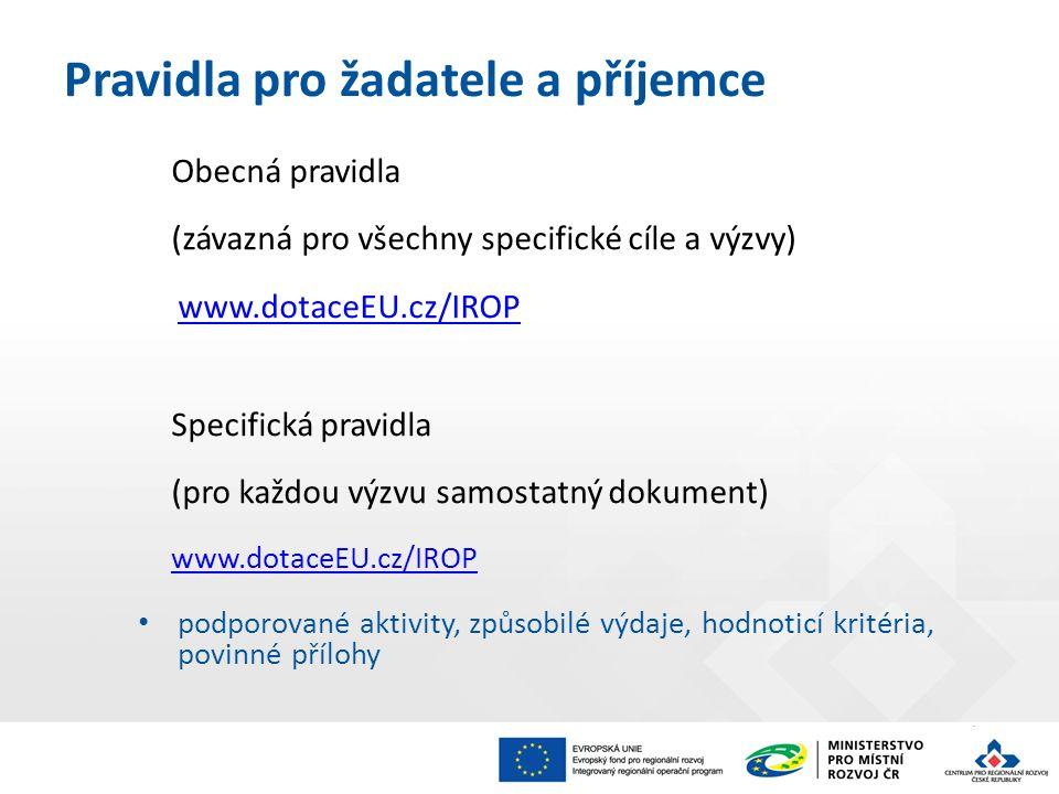 Pravidla pro žadatele a příjemce Obecná pravidla (závazná pro všechny specifické cíle a výzvy) www.dotaceEU.cz/IROP Specifická pravidla (pro každou vý
