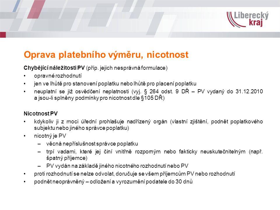 Oprava platebního výměru, nicotnost Chybějící náležitosti PV (příp.