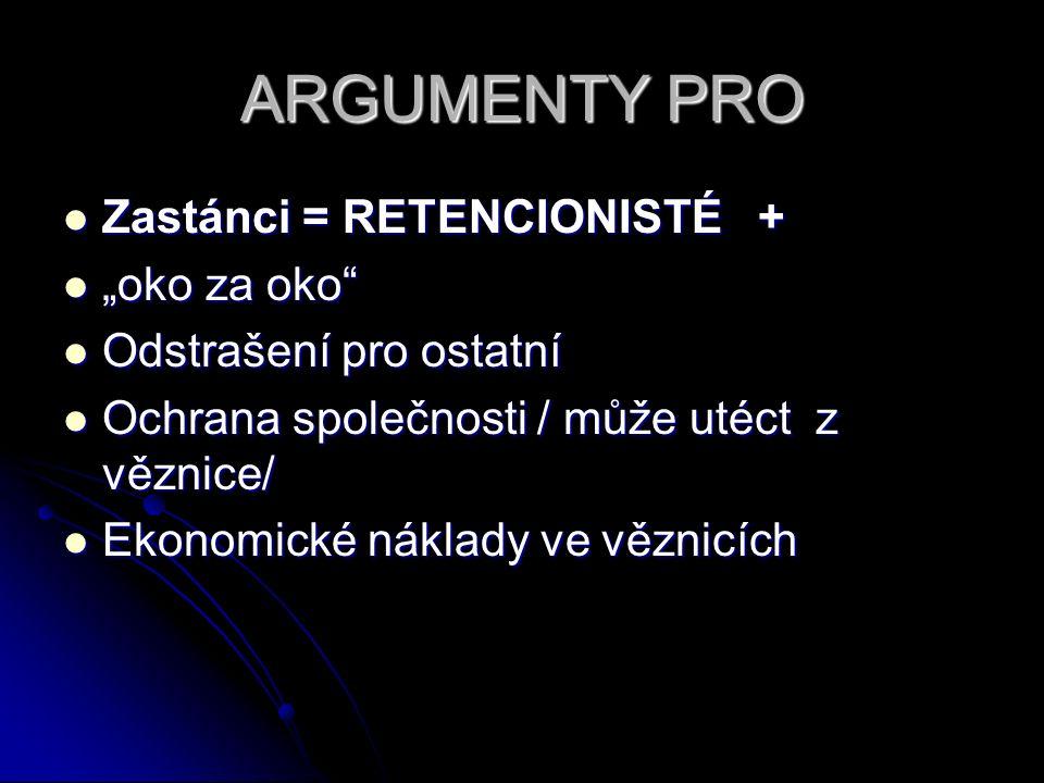"ARGUMENTY PRO Zastánci = RETENCIONISTÉ + Zastánci = RETENCIONISTÉ + ""oko za oko"" ""oko za oko"" Odstrašení pro ostatní Odstrašení pro ostatní Ochrana sp"