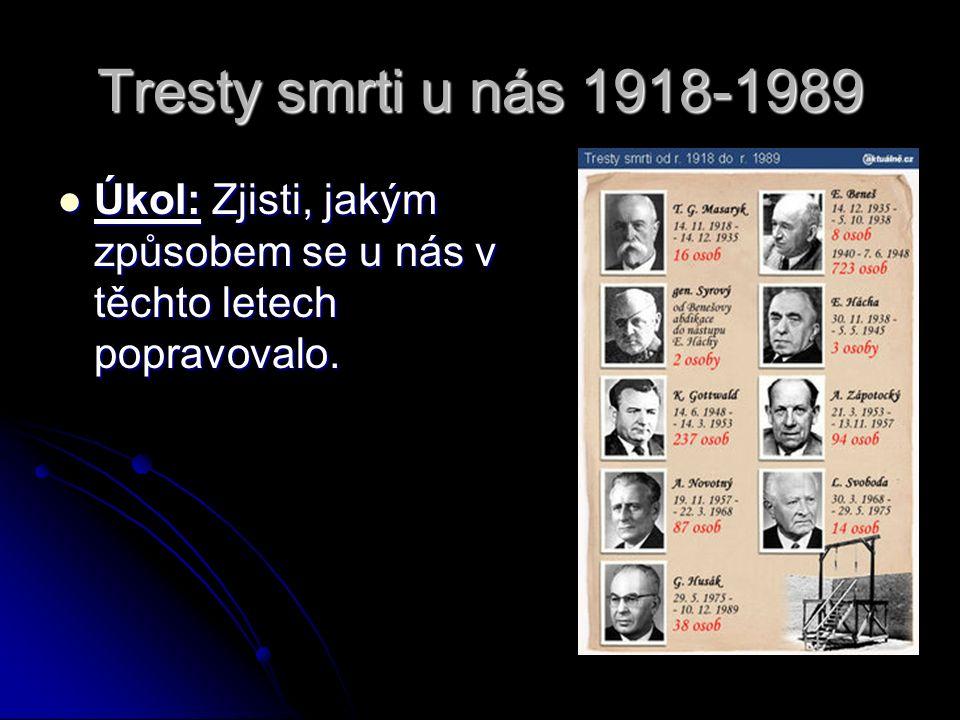 Tresty smrti u nás 1918-1989 Úkol: Zjisti, jakým způsobem se u nás v těchto letech popravovalo. Úkol: Zjisti, jakým způsobem se u nás v těchto letech