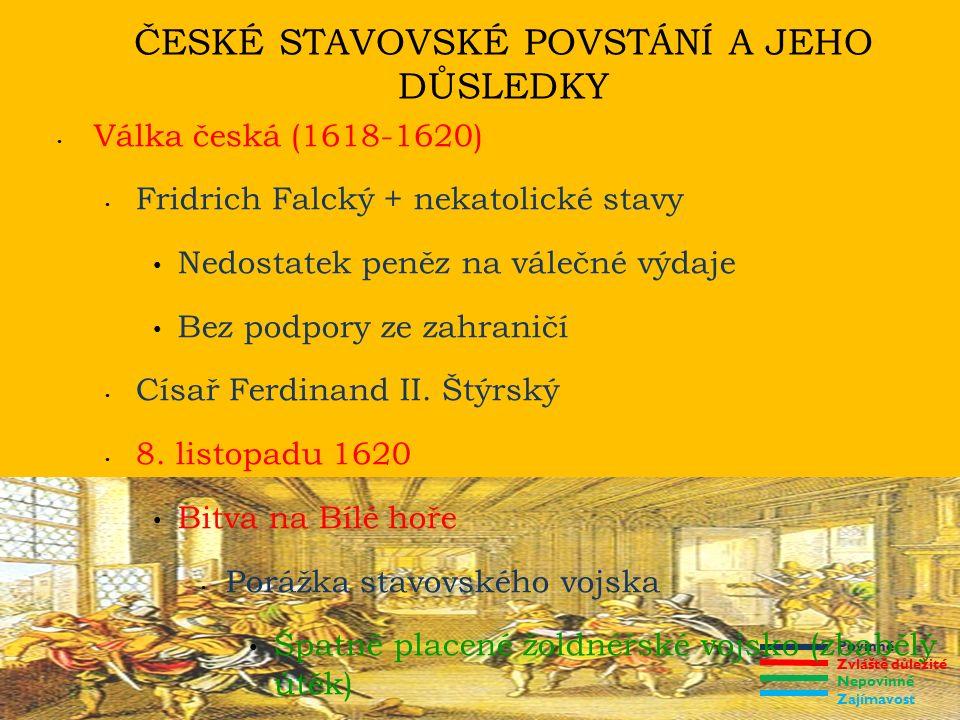 Povinné Zvláště důležité Nepovinné Zajímavost ČESKÉ STAVOVSKÉ POVSTÁNÍ A JEHO DŮSLEDKY Důsledky bělohorské porážky Rozsáhlá konfiskace majetku účastníkům povstání 21.