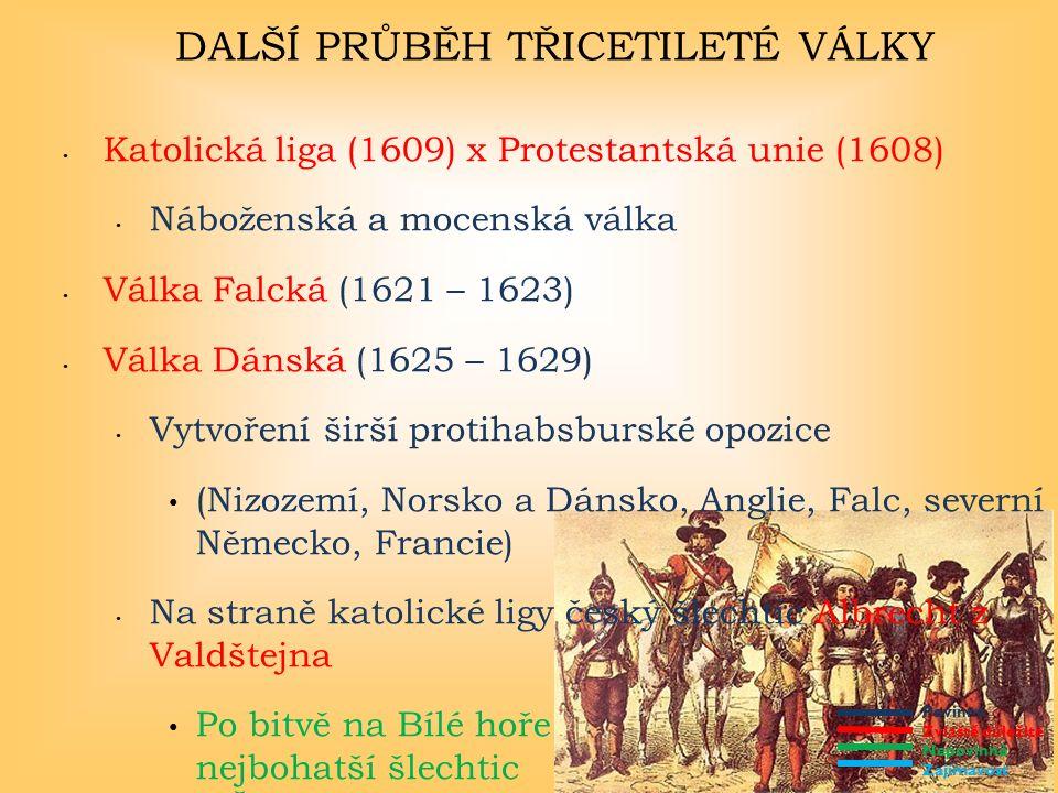 Povinné Zvláště důležité Nepovinné Zajímavost DALŠÍ PRŮBĚH TŘICETILETÉ VÁLKY Katolická liga (1609) x Protestantská unie (1608) Náboženská a mocenská válka Válka Falcká (1621 – 1623) Válka Dánská (1625 – 1629) Vytvoření širší protihabsburské opozice (Nizozemí, Norsko a Dánsko, Anglie, Falc, severní Německo, Francie) Na straně katolické ligy český šlechtic Albrecht z Valdštejna Po bitvě na Bílé hoře nejbohatší šlechtic v Čechách