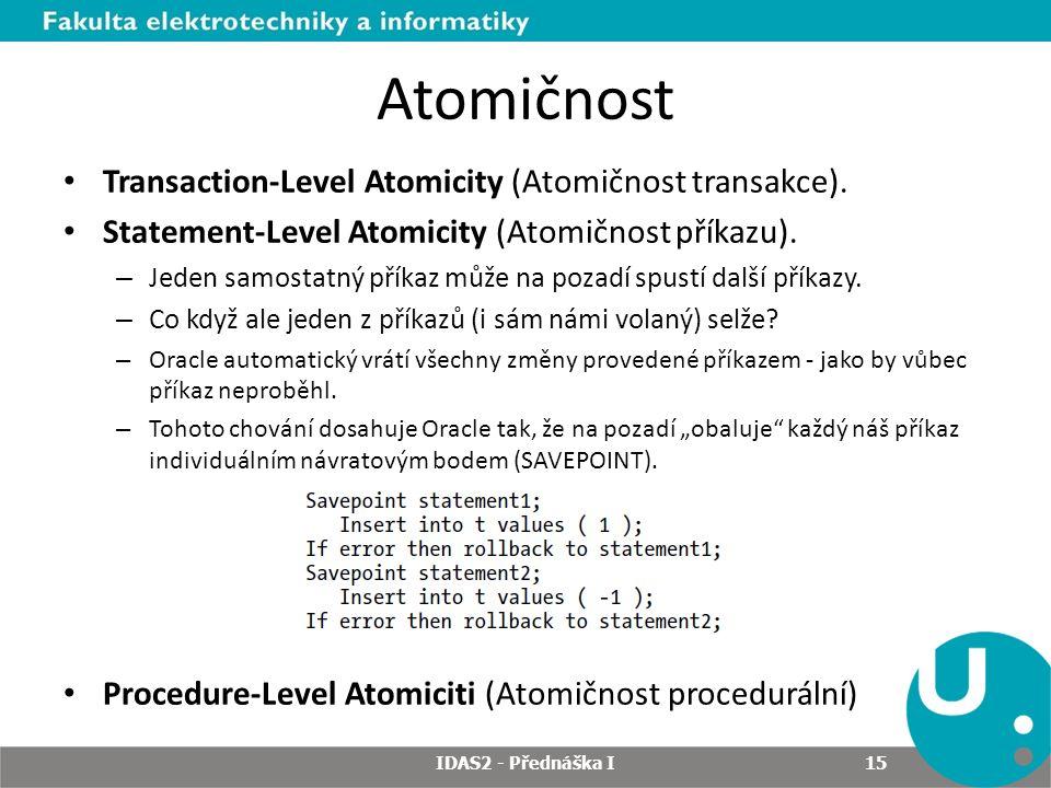 Atomičnost Transaction-Level Atomicity (Atomičnost transakce).