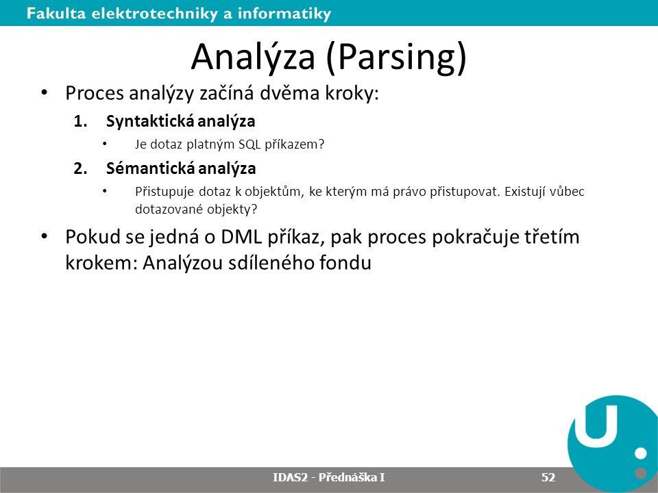 Analýza (Parsing) Proces analýzy začíná dvěma kroky: 1.Syntaktická analýza Je dotaz platným SQL příkazem.