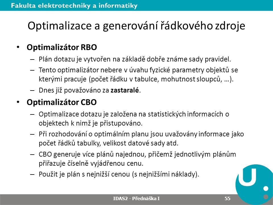 Optimalizace a generování řádkového zdroje Optimalizátor RBO – Plán dotazu je vytvořen na základě dobře známe sady pravidel.