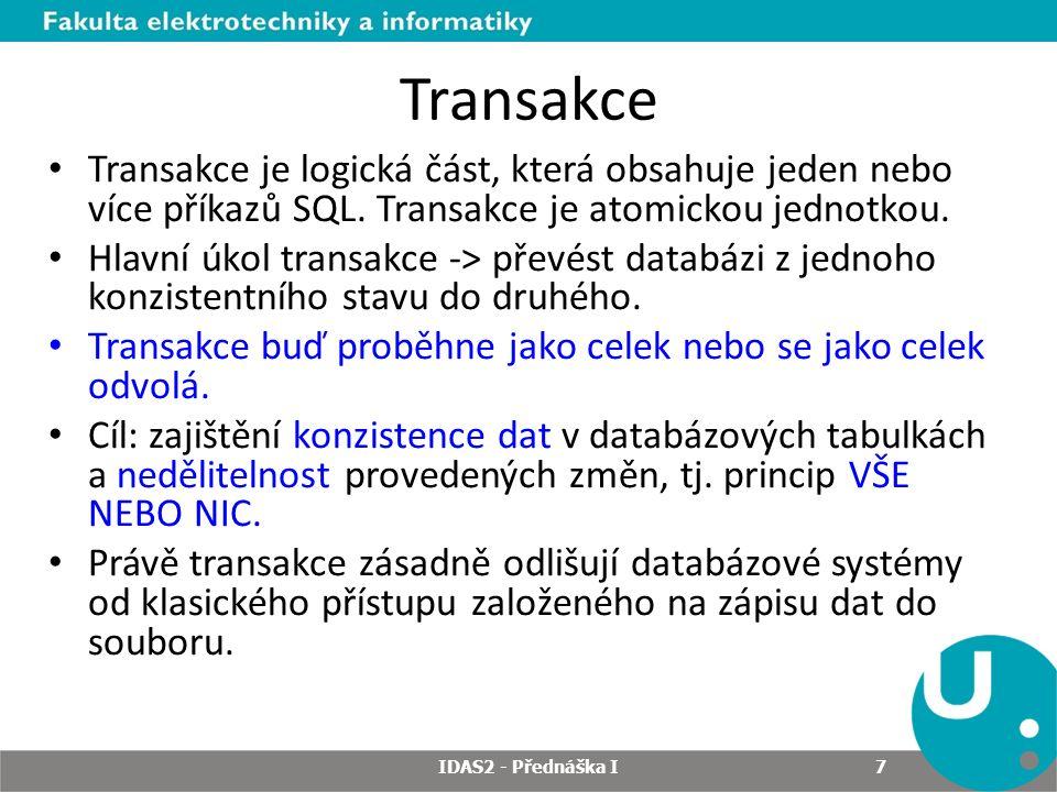 Konzistentní čtení Oracle zabraňuje destruktivní interakci mezi transakcemi, které přistupují ke stejným zdrojům dat, tento proces je automatický a nevyžaduje od uživatelů žádnou součinnost.