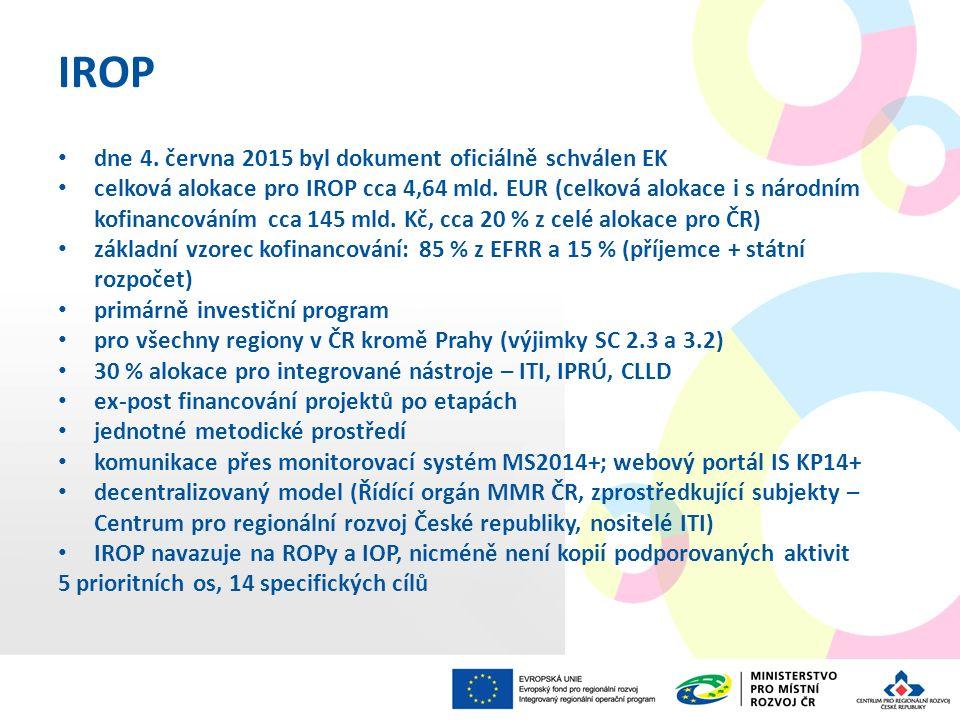 IROP dne 4. června 2015 byl dokument oficiálně schválen EK celková alokace pro IROP cca 4,64 mld. EUR (celková alokace i s národním kofinancováním cca