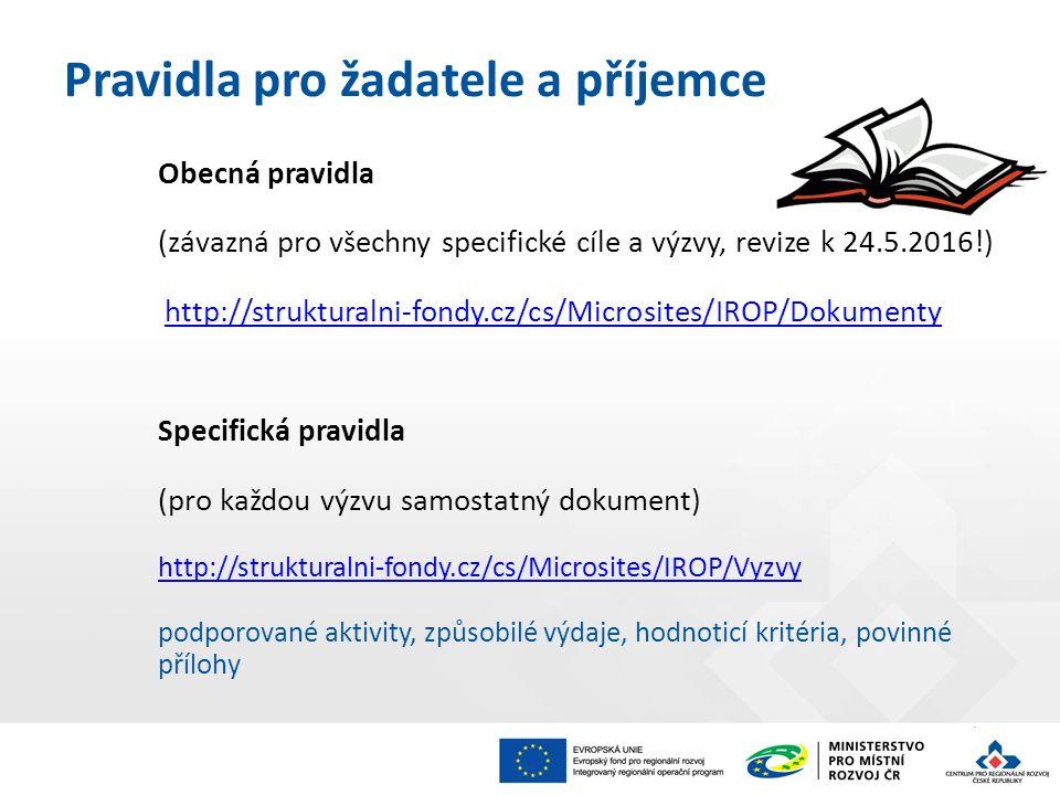 Pravidla pro žadatele a příjemce Obecná pravidla (závazná pro všechny specifické cíle a výzvy, revize k 24.5.2016!) http://strukturalni-fondy.cz/cs/Mi