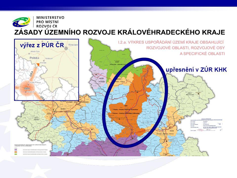 výřez z PÚR ČR upřesnění v ZÚR KHK