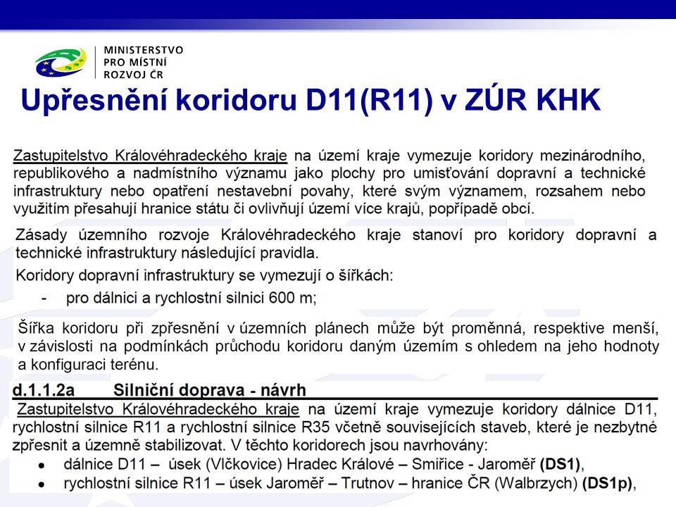 Upřesnění koridoru D11(R11) v ZÚR KHK