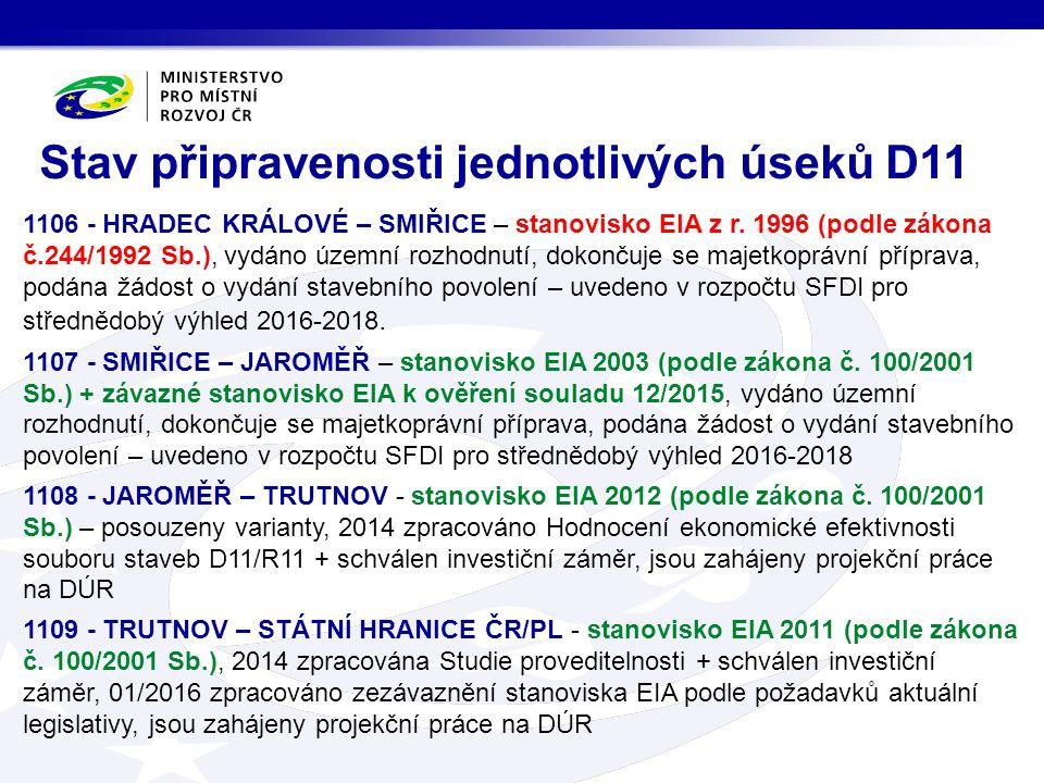 Stav připravenosti jednotlivých úseků D11 1106 - HRADEC KRÁLOVÉ – SMIŘICE – stanovisko EIA z r.