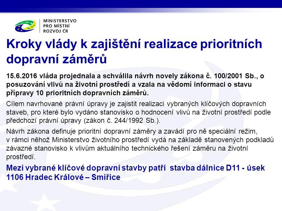 Kroky vlády k zajištění realizace prioritních dopravní záměrů 15.6.2016 vláda projednala a schválila návrh novely zákona č.