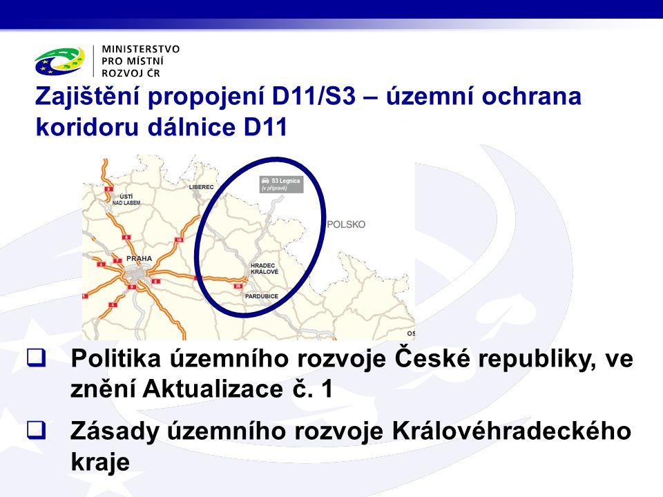 Zajištění propojení D11/S3 – územní ochrana koridoru dálnice D11  Politika územního rozvoje České republiky, ve znění Aktualizace č.