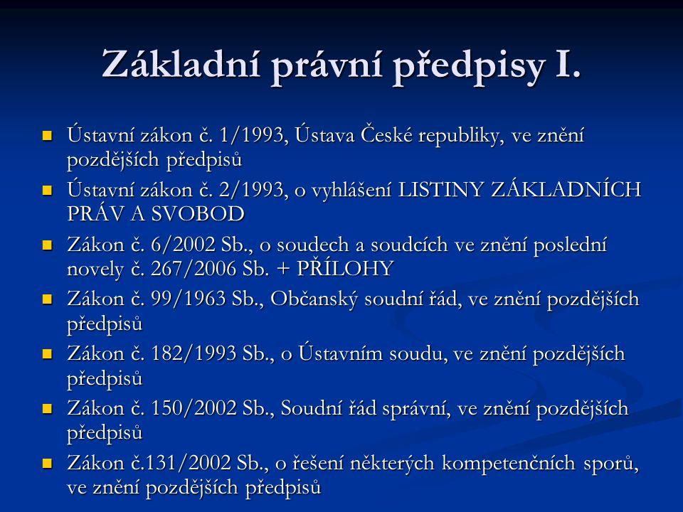 Základní právní předpisy I. Ústavní zákon č.