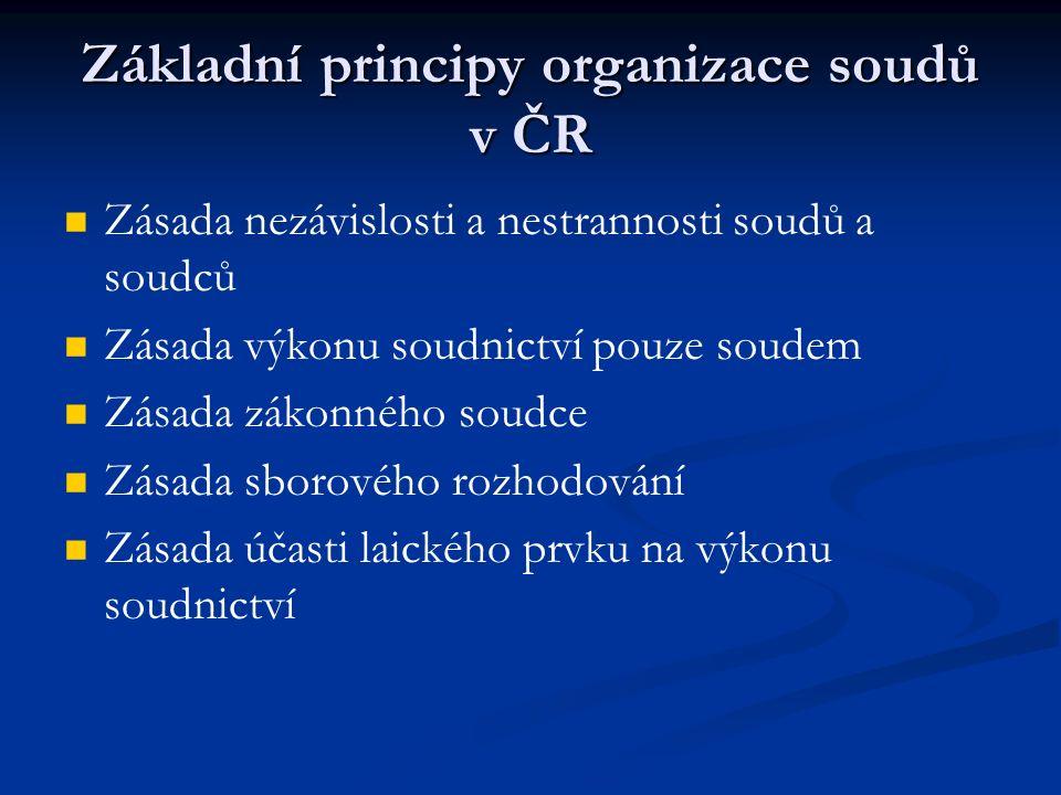 Základní principy organizace soudů v ČR Zásada nezávislosti a nestrannosti soudů a soudců Zásada výkonu soudnictví pouze soudem Zásada zákonného soudc