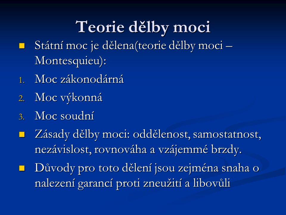Teorie dělby moci Státní moc je dělena(teorie dělby moci – Montesquieu): Státní moc je dělena(teorie dělby moci – Montesquieu): 1. Moc zákonodárná 2.