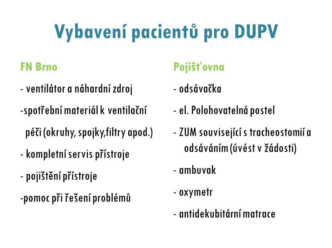 Vybavení pacientů pro DUPV FN Brno - ventilátor a náhardní zdroj -spotřební materiál k ventilační péči (okruhy, spojky,filtry apod.) - kompletní servis přístroje - pojištění přístroje -pomoc při řešení problémů Pojišťovna - odsávačka - el.