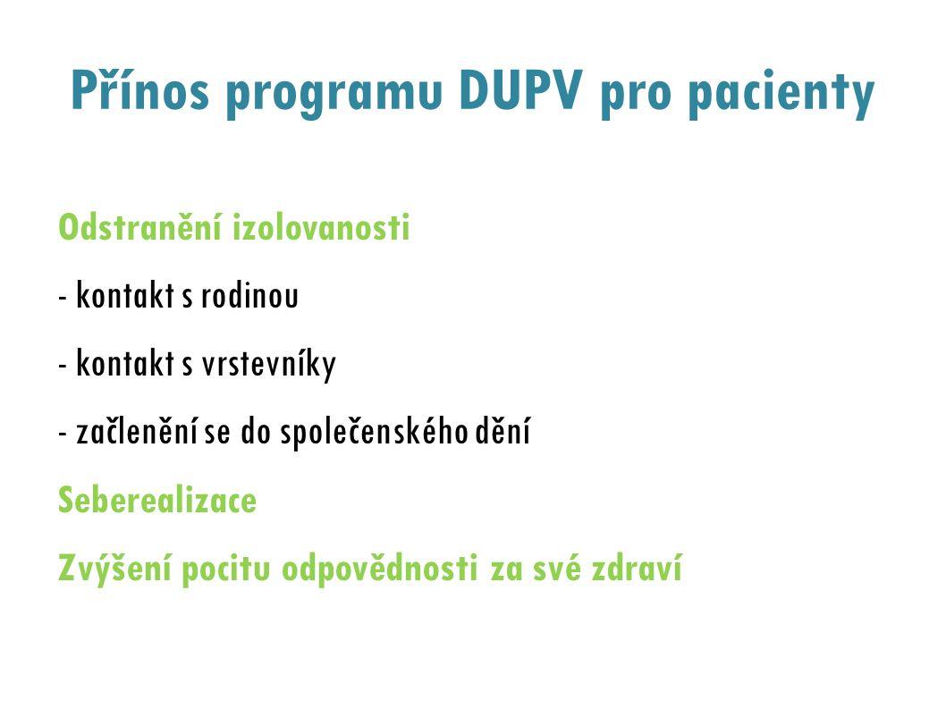 Přínos programu DUPV pro pacienty Odstranění izolovanosti - kontakt s rodinou - kontakt s vrstevníky - začlenění se do společenského dění Seberealizace Zvýšení pocitu odpovědnosti za své zdraví