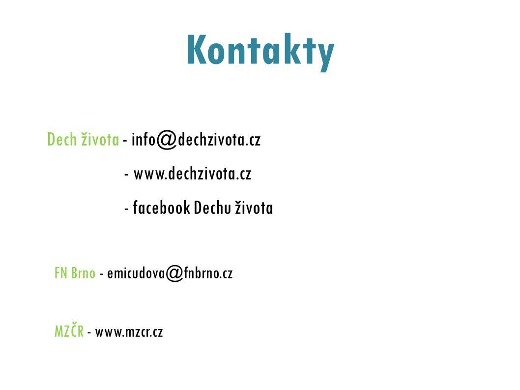 Kontakty Dech života - info@dechzivota.cz - www.dechzivota.cz - facebook Dechu života FN Brno - emicudova@fnbrno.cz MZČR - www.mzcr.cz
