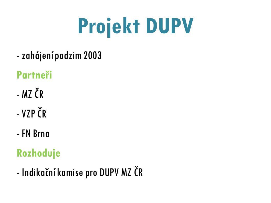 Projekt DUPV - zahájení podzim 2003 Partneři - MZ ČR - VZP ČR - FN Brno Rozhoduje - Indikační komise pro DUPV MZ ČR