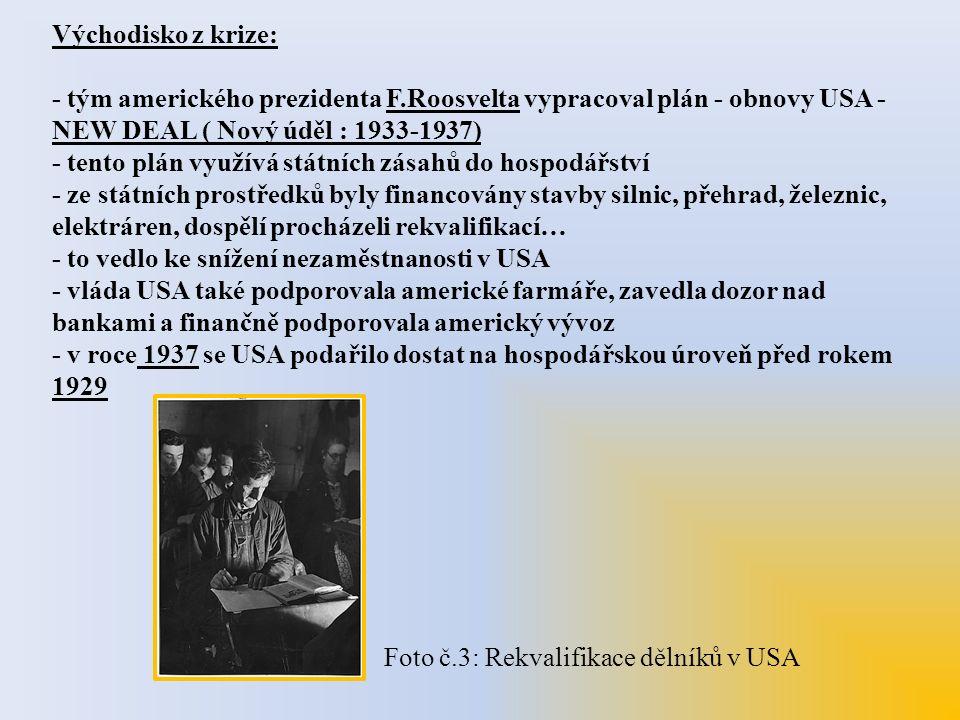 Východisko z krize: - tým amerického prezidenta F.Roosvelta vypracoval plán - obnovy USA - NEW DEAL ( Nový úděl : 1933-1937) - tento plán využívá stát