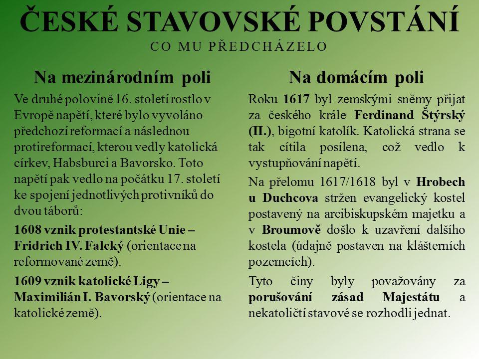 ČESKÉ STAVOVSKÉ POVSTÁNÍ CO MU PŘEDCHÁZELO Na mezinárodním poli Ve druhé polovině 16.