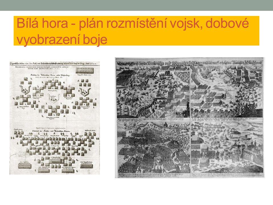 Bílá hora - plán rozmístění vojsk, dobové vyobrazení boje