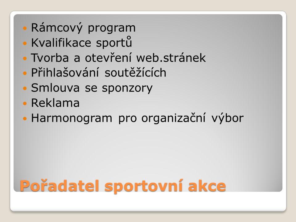 Pořadatel sportovní akce Rámcový program Kvalifikace sportů Tvorba a otevření web.stránek Přihlašování soutěžících Smlouva se sponzory Reklama Harmonogram pro organizační výbor