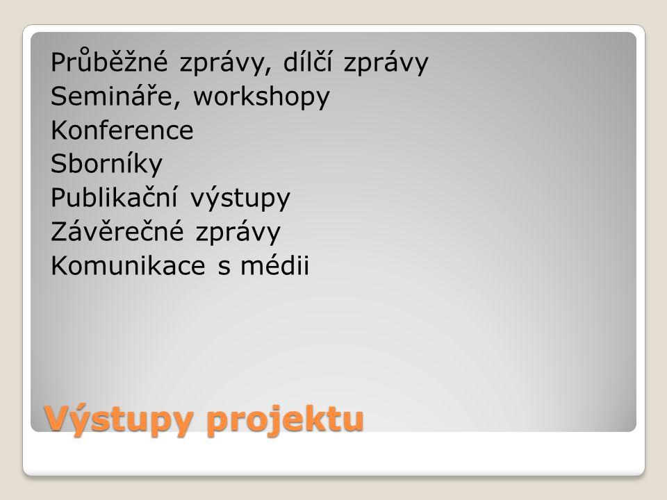 Výstupy projektu Průběžné zprávy, dílčí zprávy Semináře, workshopy Konference Sborníky Publikační výstupy Závěrečné zprávy Komunikace s médii