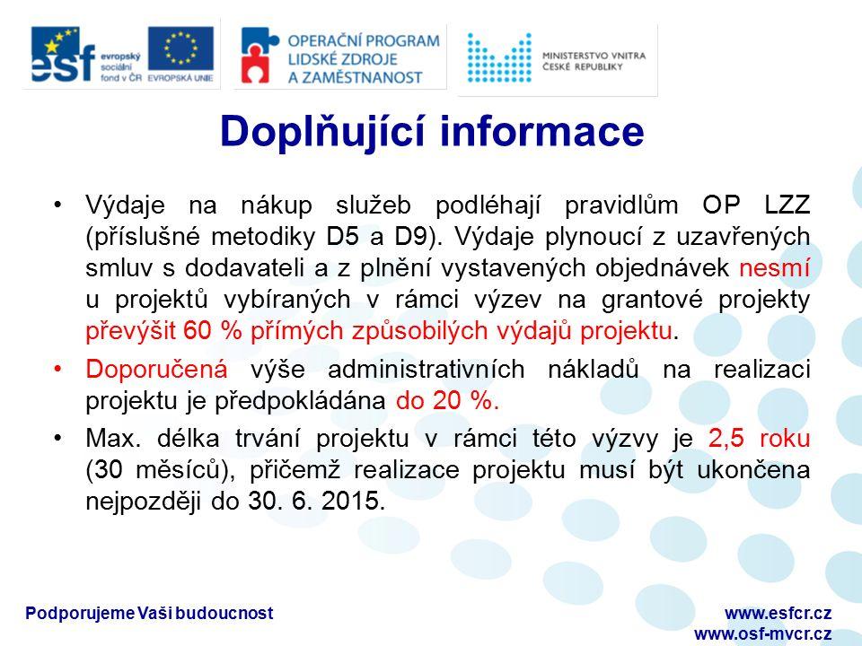 Podporujeme Vaši budoucnostwww.esfcr.cz www.osf-mvcr.cz Doplňující informace Výdaje na nákup služeb podléhají pravidlům OP LZZ (příslušné metodiky D5 a D9).