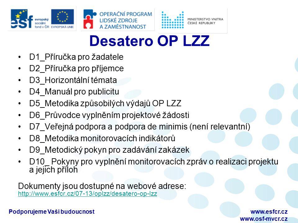 Podporujeme Vaši budoucnostwww.esfcr.cz www.osf-mvcr.cz Desatero OP LZZ D1_Příručka pro žadatele D2_Příručka pro příjemce D3_Horizontální témata D4_Ma
