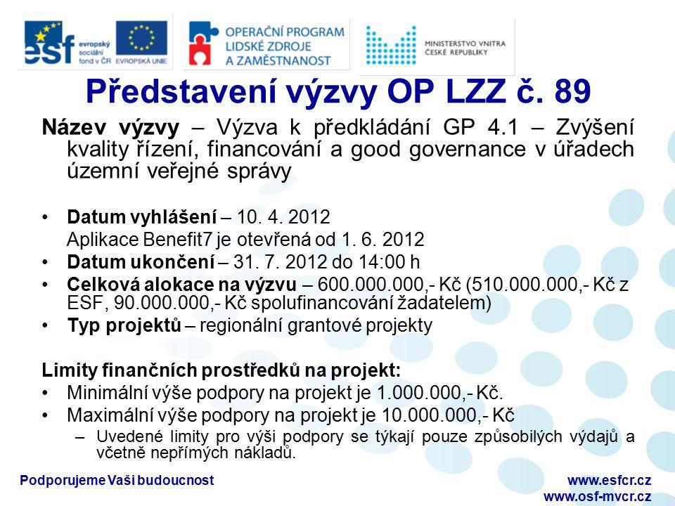 Podporujeme Vaši budoucnostwww.esfcr.cz www.osf-mvcr.cz Představení výzvy OP LZZ č. 89 Název výzvy – Výzva k předkládání GP 4.1 – Zvýšení kvality říze