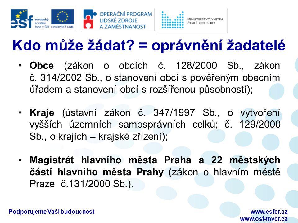 Podporujeme Vaši budoucnostwww.esfcr.cz www.osf-mvcr.cz Kdo může žádat? = oprávnění žadatelé Obce (zákon o obcích č. 128/2000 Sb., zákon č. 314/2002 S
