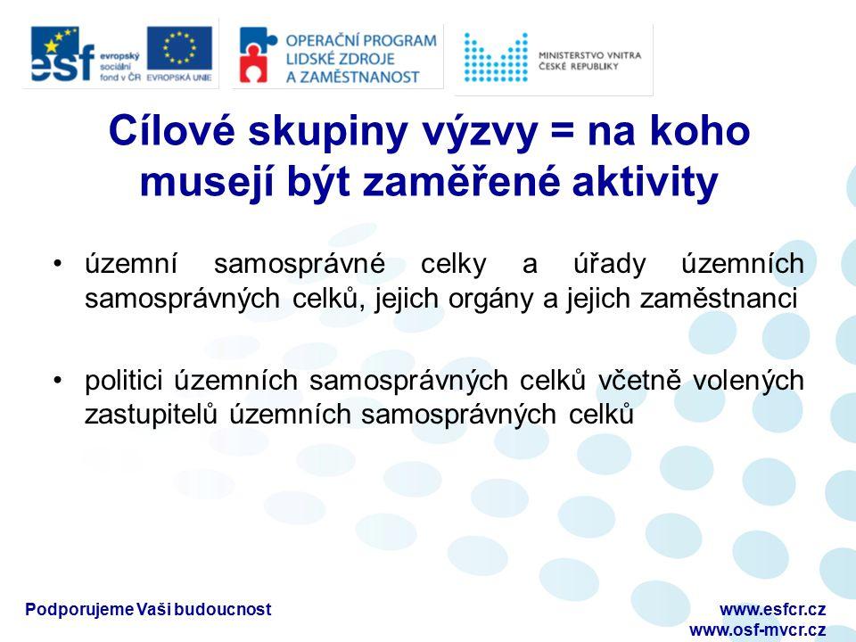 Podporujeme Vaši budoucnostwww.esfcr.cz www.osf-mvcr.cz Cílové skupiny výzvy = na koho musejí být zaměřené aktivity územní samosprávné celky a úřady ú