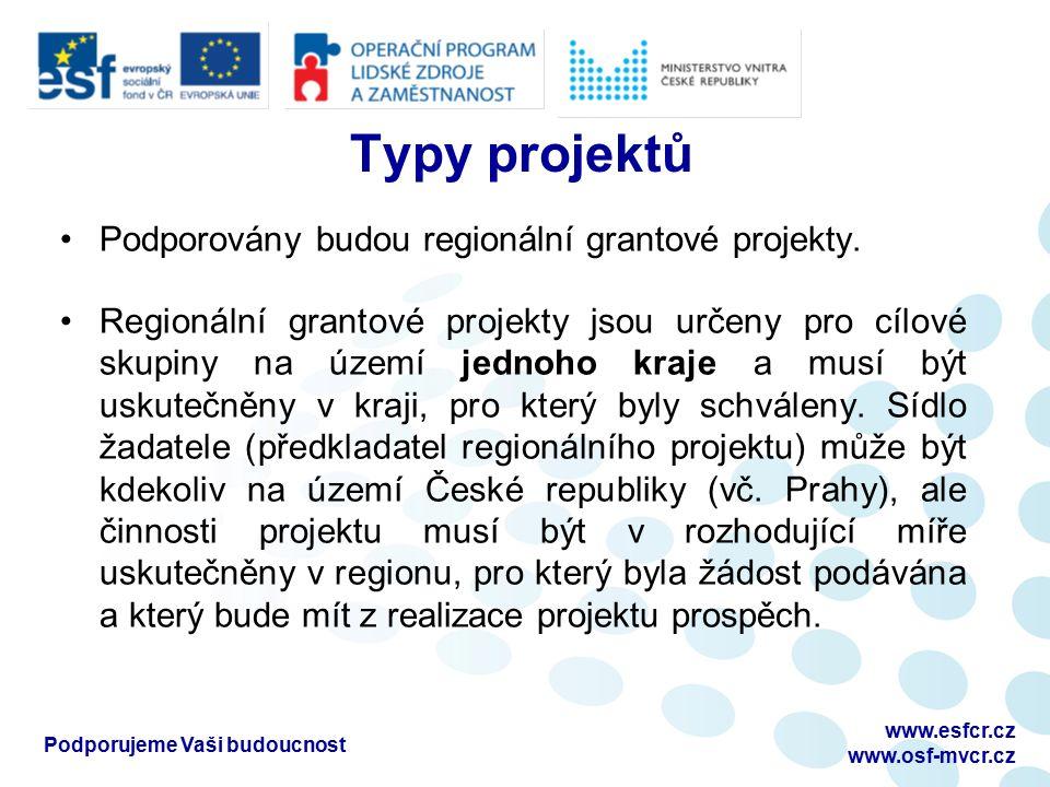 Typy projektů Podporovány budou regionální grantové projekty. Regionální grantové projekty jsou určeny pro cílové skupiny na území jednoho kraje a mus