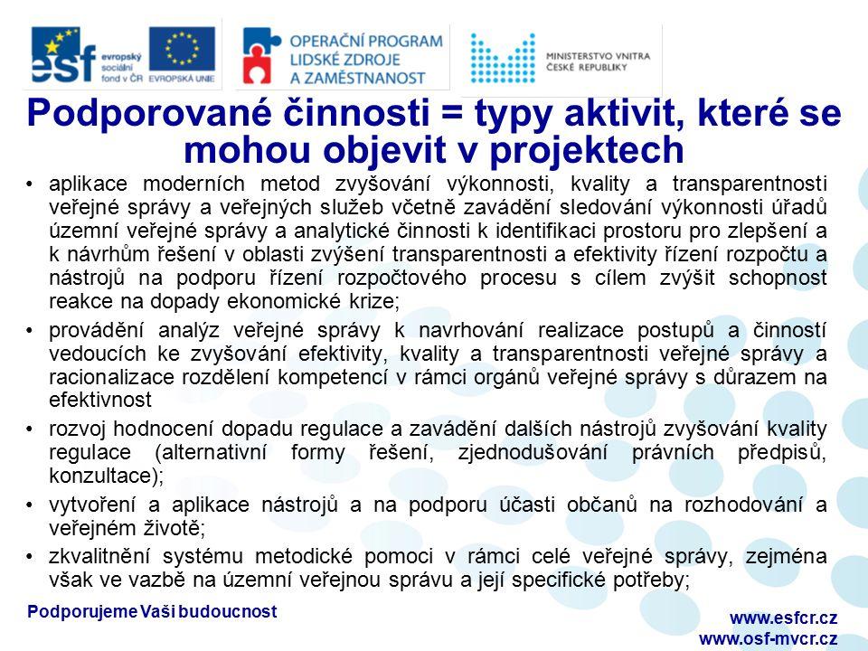 www.esfcr.cz www.osf-mvcr.cz Podporované činnosti = typy aktivit, které se mohou objevit v projektech aplikace moderních metod zvyšování výkonnosti, k