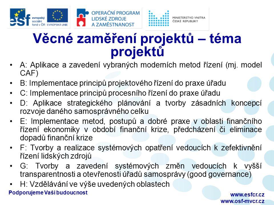 Podporujeme Vaši budoucnost www.esfcr.cz www.osf-mvcr.cz Věcné zaměření projektů – téma projektů A: Aplikace a zavedení vybraných moderních metod řízení (mj.